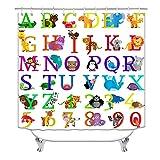 Alphabet-Duschvorhang, Kinder-ABC-Duschvorhang für Badezimmer, lustiger Lernspaß, Tier-Duschvorhang für Kinder, 183 x 183 cm (Alphabet)