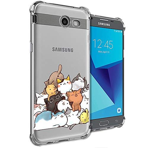 Case for Samsung Galaxy J7 Perx, J7 Prime, J7 Sky Pro, J7 V, Galaxy J7 2017 Clear with Cute Cat Design Shockproof Bumper Protective Cell Phone Cases for Girls N Women Child Kids Soft Flexible Cover