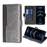 FiiMoo Custodia Compatibile con iPhone 12 PRO Max 6.7', Custodia in Pelle PU Premium [Slot per Schede] [Chiusura Magnetica] [Funzione di Supporto] Cover a Libro per iPhone 12 PRO Max 6.7'-Nero