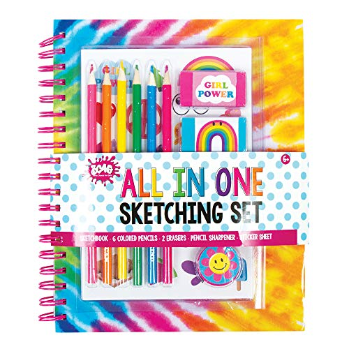 Three Cheers for Girls by Make It Real - All in One Sketching Set (Tie Dye) Kids Art Set with Colored Pencils, Erasers & Stickers - Sketchbook & Coloring Book for Kids
