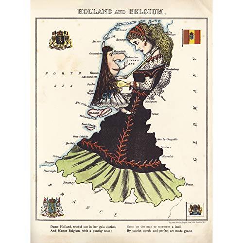 Lancaster 1869 - Póster de mapa de Holanda Bélgica para mujer, papel grueso de 45,7 x 60,9 cm