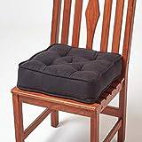 HOMESCAPES Cojín Acolchado en Cuero Terciopelo para sillas de 40 cm x 40 cm x 10 cm de Color Negro