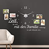 KLEBEHELD Wandtattoo Uhr Familienzeit mit Fotorahmen und Spruch für Wohnzimmer und Wohnbereich Farbe schwarz, Größe 120x69cm (B x H) | Uhr schwarz | Umlauf 44cm