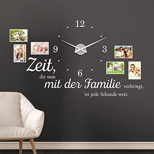 KLEBEHELD® Wandtattoo Uhr Familienzeit mit Fotorahmen und Spruch für Wohnzimmer und Wohnbereich Farbe weiss, Größe 120x69cm (B x H) | Uhr silber| Umlauf 44cm