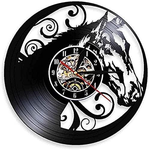 SHILLPS Motivación Fitness led Reloj de Pared de Vinilo Silueta Retro Registro Regalo Hecho a Mano Reloj de Pared para el hogar Reloj Art Deco Interior con LED