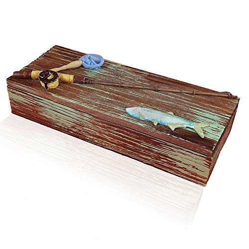 Wooden, Nautical, Fishing Box for Coins, Keys or the Man Cave. Great Birthday, Christmas or Fathers Gift for Dad!