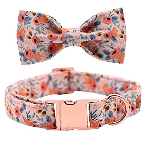 Ohomr Collar Animal doméstico del Gato Pajaritas Collar Collares Gatito de la Flor con Hebilla de Oro Rosa de la Pajarita de Bell Ajustable para Mascotas Naranja