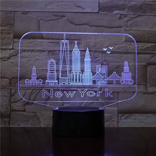 Lámpara de ilusión 3D Luz de noche LED York Edificios famosos Usb Ciudad Atmósfera Lámpara Decoración Rgb Niños Bebé Regalo Mesita de noche Neón Regalo de cumpleaños de niño niña