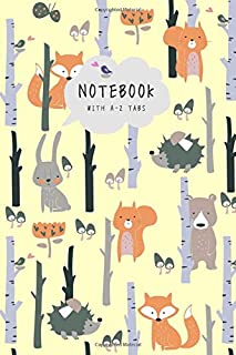 Notebook with A-Z Tabs: 6x9 Lined-Journal Organizer Medium with Alphabetical Sections Printed | Hedgehog Fox Bear Bunny Design Yellow
