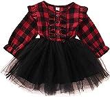 Niños pequeños Vestidos a Cuadros para niñas bebés Camisas a Cuadros Rojos de Manga Larga Tops Faldas de tutú Ropa de otoño (Red,3-4 Años)