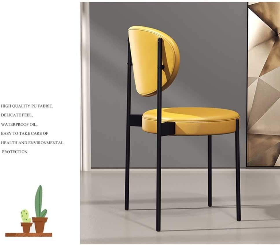LRXG Chaise de Salle à Manger, café, café, théière Nordic Casual Shop Home Dossier rétro for Restaurant, Table à Vent en Fer forgé Industrielle (Color : Yellow) Black