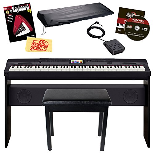 Casio CGP-700BK 88-Key Compact Grand Digital Piano Bundle with Furniture-Style Bench, Dust Cover, Instructional DVD, Instructional Book, Sustain Pedal, and Polishing Cloth - Black