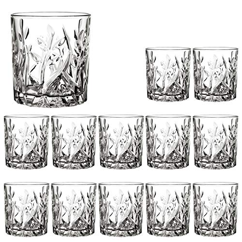 Rocks Glasses 10 oz,QAPPDA Round Clear Drinking Glass,Whiskey Glasses,Old Fashioned Cocktails Glasses Bourbon Glasses Shot Glass Great for Restaurants,Bars,Parties,Water Cups Vodka Glass Cups 12 Pack…