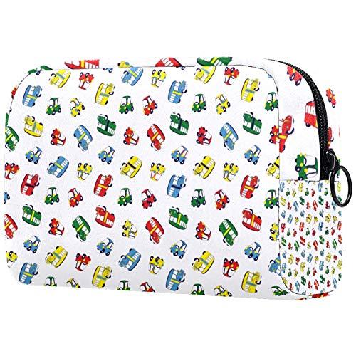 ATOMO Bolsa de maquillaje, bolsa de viaje cosmética grande bolsa de aseo organizador de maquillaje para mujeres, coches coloridos camiones