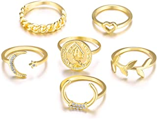 6Pcs Moon Rings for Women - Gold Plated Retro Coin Leaf Midi Ring Set Statement Jewelry for Girls Gift