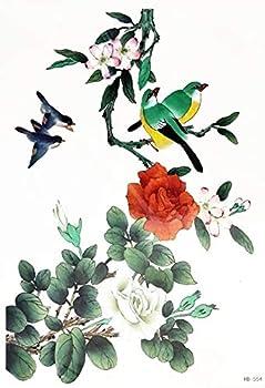 PARITA Big Tattoos Cute Parrot Cherry Blossom Rose Flower Tree Cartoon Tattoo Fake Stickers Waterproof Design Body Leg Arm Shoulder Chest Bottom & Back Make Up for Man Guys Women  1 Sheet   03