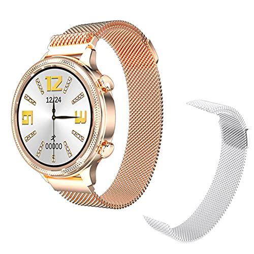 LJMG Smart Watch, Monitor de presión Arterial de Las Mujeres a Prueba de Agua con Impermeable táctil Completo para Android iOS Rastreador de Fitness de Ritmo cardíaco para Mujer,C