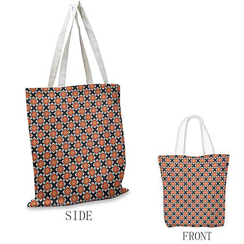 Floral Pattern Shopping Bag Geometric Flower Figures in Retro Style Simplistic Country Design Great for Shopping W15.75 x L13.78 Inch Orange Charcoal Grey White