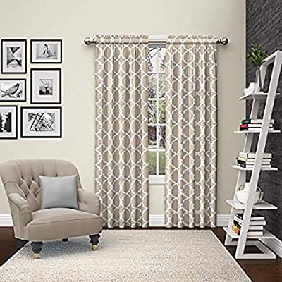 """PAIRS TO GO Vickery Decorative Window Treatment Rod Pocket Curtains for Living Room, Double Panel, 28"""" x 63"""", Taupe"""