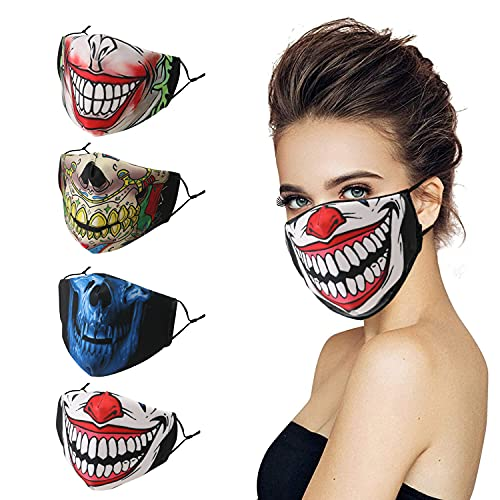 Black Halloween Skeleton Face Mask Clown Joker Gifts for Men Women Love Designer Cloth Breathable Men Reusable Washable Adjustable Nose Wire Cubre Bocas 4 Pack Spandex Printed Comfortable Fabric