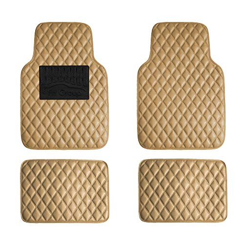 FH Group F12002BEIGE Luxury Universal All-Season Heavy-Duty Faux Leather Car Floor Mats Diamond Design w. High Tech 3-D Anti-Skid/Slip Backing