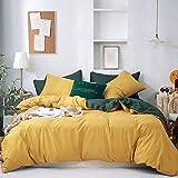 GETIYA Ropa de cama para mujer y niña, 155 x 220 cm, color amarillo oscuro, ropa de cama reversible de 2 piezas, suave...