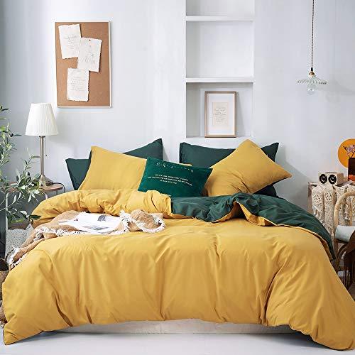 GETIYA Dunkel Gelb Bettwäsche 220x240 Damen Herren Gelb Einfarbig Bettwäsche Weiche Mikrofaser Wendebettwäsche Gelb Grün Basis Unifarben Bettwäsche mit Reißverschluss und 2 Kissenbezüge 80x80