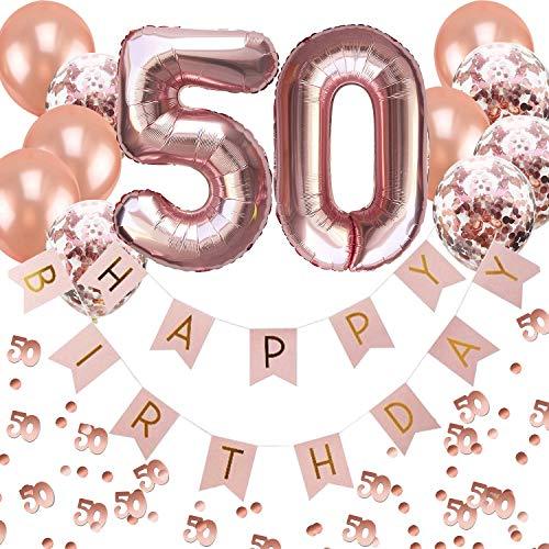 Oblique Unique® 50. Geburtstag Party Feier Deko Set - Happy Birthday Girlande + Folien Luftballons Zahl 5 und 0 + Konfetti Luftballon Set + Konfetti Zahl 50 - Roségold Rosa Champagner