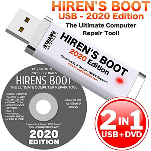 Hiren's Boot CD USB PE x64 bit Software Repair Tools Suite 2020 latest version 16.3 Best PC Computer Repair Recovery Win 7, 8, 8.1 and 10 USB