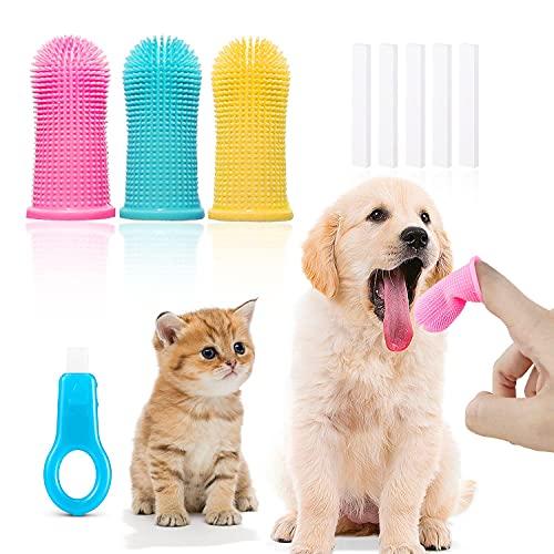 Set di 9 spazzolini da dito per cani di gatto, spazzolino da dito a copertura totale a 360 °, spazzolino da denti per animali domestici, pulizia dei denti, rimozione della placca