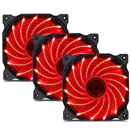 upHere 120 mm tyst fläkt för datorfodral, CPU-kylare och radiatorer ultratyst högt luftflöde 15 LED datorfodralfläkt, 3-pack röd (15R3-3)