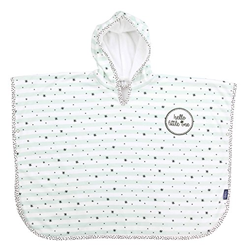 bébé-jou 3017103 Badeponcho Hello Little One/Lucky Quotes, weiß
