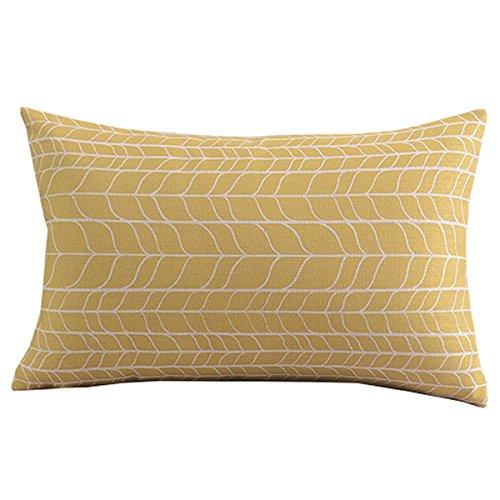 créer des For-life Coton Lin décoratif Taie d'oreiller Couvre-lit Taie d'oreiller Housse de coussin simple Chevron Jaune rectangle 12