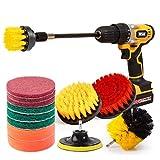 JOQINEER Kit di attacco per strumento di pulizia della spazzola da trapano da 14 pezzi per lavaggio/pulizia di mobili, moquette, sedie, vetro della porta della doccia e cuoio