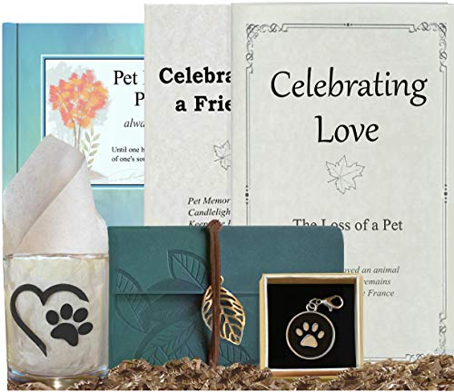 Pet Loss Care Package - Complete Pet Memorial w/Remembrance Journal, Full Farewell Celebration to Honor Dog or Cat - Heartfelt Tribute, Thoughtful Sympathy Gift
