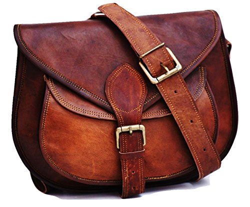 DURABLE: Made of heavy duty leather ,strong buckles.We have used better leather and better reinforced sewing method FEATURES : Concealed lock under main buckle for easy access . 3 Inner compartments, 1 Front Pocket and 2 Zipper Pockets, Long and adju...