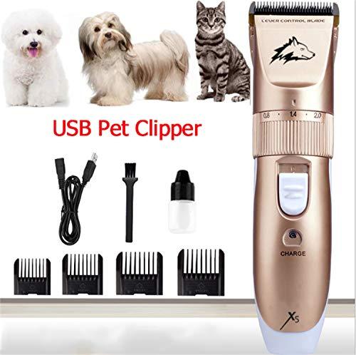 KEPEAK Maquinilla de Afeitar Eléctrica para Mascotas, Aseo Inalámbrico Silencioso, Kit de Cortador de Pelo USB para Perro Gato Conejo