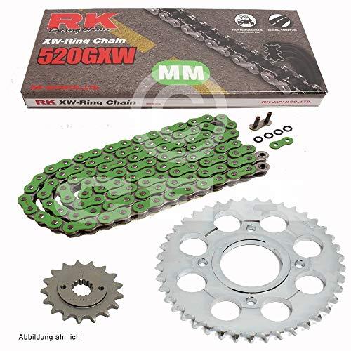 Chaîne de Ducati Monster 695 07–08, chaîne RK mm 520 gxw 106, vert, ouvert, 15/42