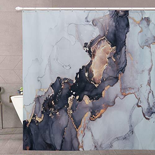Luxuriöser abstrakter Duschvorhang – RoomTalks moderner schwarz-goldener Marmor-Kunst-Malerei Badezimmer Duschvorhang-Sets Tinte Textur wasserdicht Badvorhang (183,9 cm B x 183,9 cm L, goldfarben)