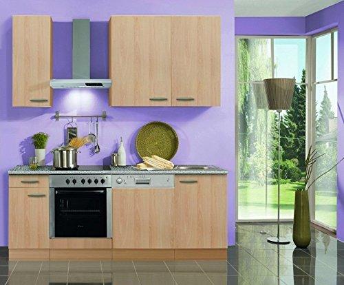 idealShopping GmbH Küchenblock mit Geschirrspüler und Glaskeramikkochfeld Klassik 210 cm in Buche Nachbildung