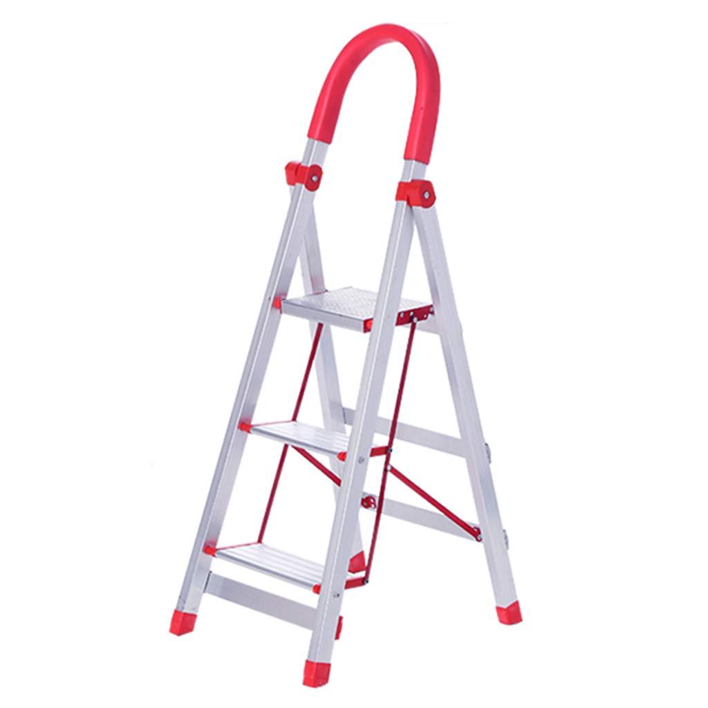 C-J-Xin Escalera de barandilla, Escalera de metal deslizante Sala de estar Escalera de almacén Escalera de cocina para el hogar Escalera de estudio plegable Escalera de casa (Tamaño : 39*50*113CM) :