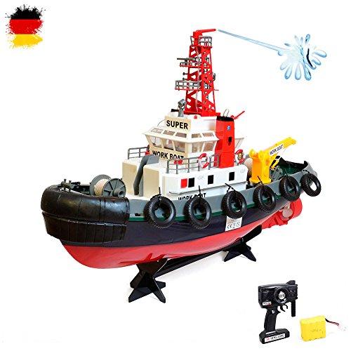 HSP Himoto RC ferngesteuertes Boot, Hafenschlepper Polizeischiff mit Spritzturm, Schiff, Komplett-Set inkl. Akku, 2,4Ghz Fernsteuerung, Neu, OVP