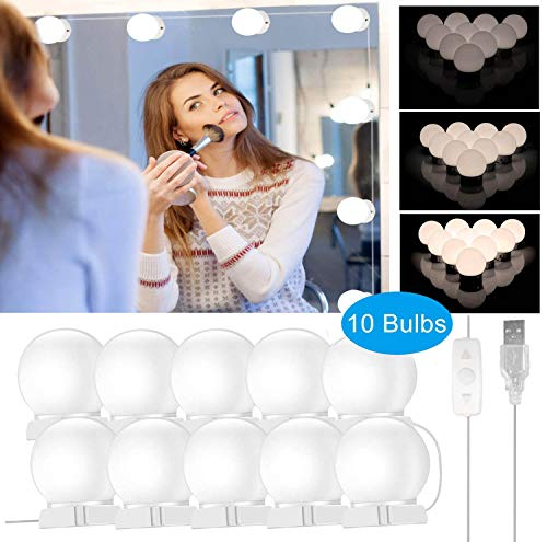 innislink LED Schminklicht, Spiegelleuchte 10 LED Schminktisch Beleuchtung, Hollywood Stil Spiegellampe Dimmbar Badzimmer lampe, Make up Licht für Schminkspiegel Kosmetikspiegel Badzimmer lampe