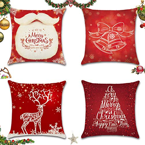 Sunshine smile 4 Pack Natale federe Cuscini,Fodere per Cuscini Decorate,Fodere per Cuscini Natale,copricuscini Divano Natale,Fodere per Cuscini Divano,Christmas Fodere per Cuscini (E)