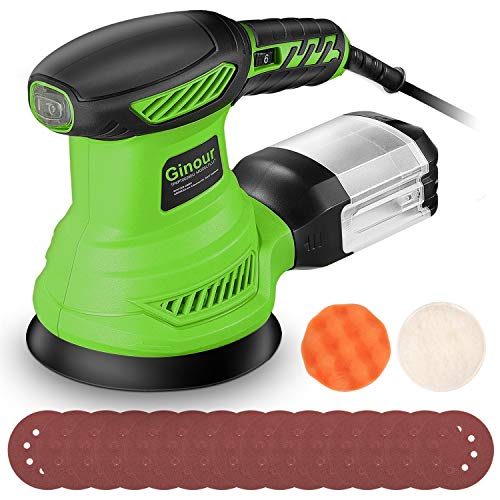 Random Orbit Sander, Ginour 6 Variable Speeds Palm Sander 13000 RPM with 15 Sandpapers (P80x5, P120x5, P180x7) & Sponge, Wool Disc, Dust Collection System, Ideal for Sanding, Finishing, Polishing Woo