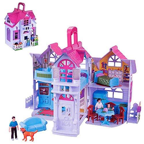 BAKAJI Casa delle Bambole Giocattolo Bambini Villa a 2 Piani con Cucina Soggiorno e Camere da Letto 3 Personaggi Inclusi e Accessori Gioco Richiudibile a Valigetta Portatile