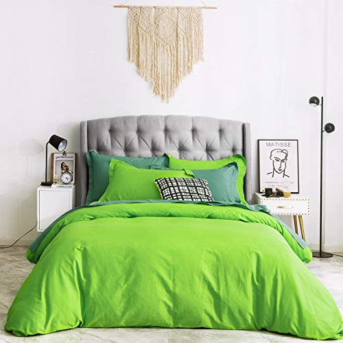 SUSYBAO Duvet Cover 2 Piece Set 100% Natural Cotton Light Green Bedding Sets Twin/Single Size 1 Solid Color Duvet Cover with Zipper Ties 1 Pillow Sham Luxury Quality Soft Breathable Comfortable