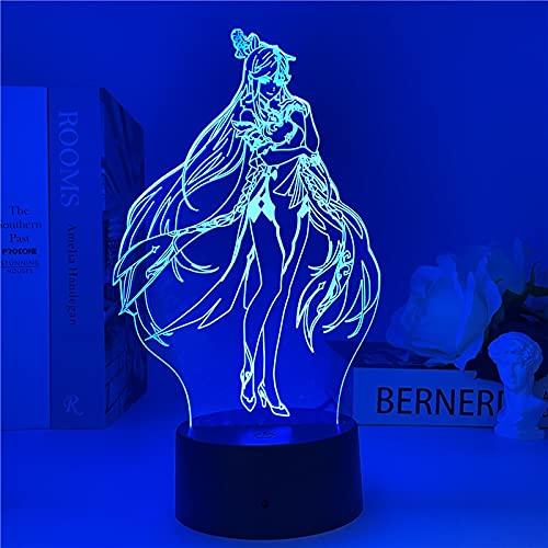 Genshin Impact Night Light Light 3D Illusion Lamp Luz de Juego Caliente para la decoración del Dormitorio LED Atmósfera Luz de la Noche Lámparas de Noche Regalo de los niños(7 Colors no Remote)