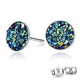 CERSLIMO blue Round Cut Druzy Earrings Sterling Silver Earing For Women Men