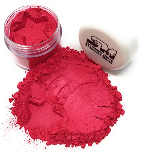 Stardust Micas Pigment Powder Cosmetic Grade Colorant for Makeup, Soap Making, Epoxy Resin, DIY Crafting Projects, Color Stable Mica Batch Consistency (Red Strawberry, 10 Gram Jar)